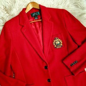 Ralph Lauren Vintage Wool Blend Crest Blazer